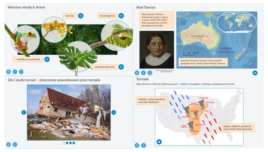 Zawartość programu Interaktywne Plansze Przyrodnicze Geografia